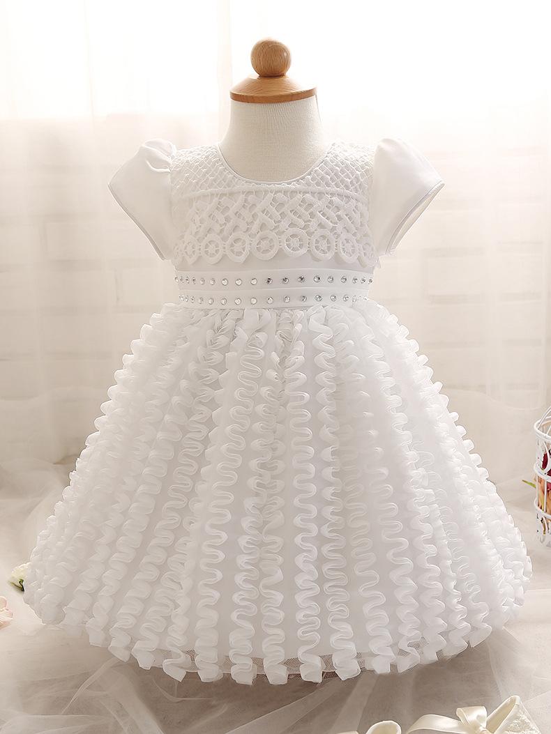 Newborn Baby Girl Lace Beading Christening Ball Gowns Infant Girls White Flower Princess Baptism Dress Toddler Birthday Dresses(China (Mainland))