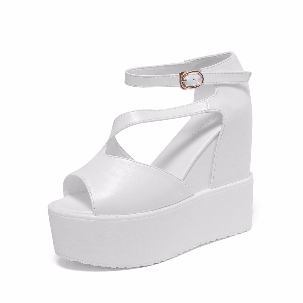 New Summer 2016 Women Shoes Peep Toe Ankle High Solid Color Black and White Wedges Heels Sandals Lace Buckle Flip Flops(China (Mainland))