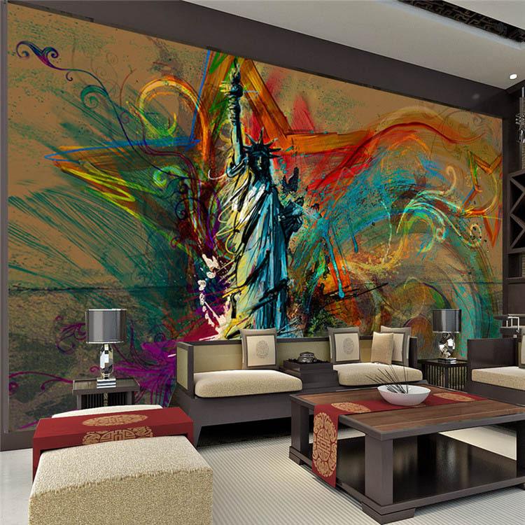 acheter personnalis grande fresque murale statue de la libert photo de soie. Black Bedroom Furniture Sets. Home Design Ideas
