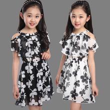 4Y-12Y Girls Chiffon Dresses Children Summer Casual Floral Short Princess Dress Kids Girl Clothing robe pour fille de 12 ans