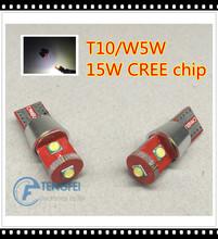 2PCS T10 W5W 15W 1350lm High Power Cree XP-E CANBUS NO ERROR White LED Upgrade DRL Backup Reverse Map Dome SIDE INDICATOR Lights(China (Mainland))