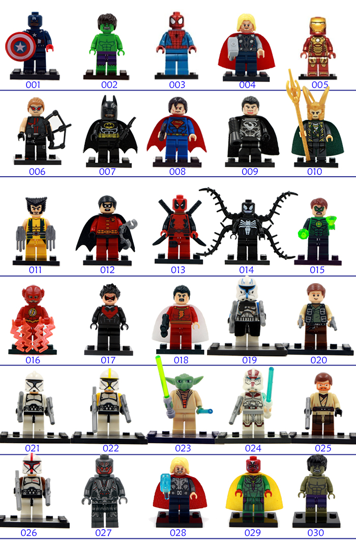 New Coming Single Sale 190 Styles DC Marvel Avengers 2 Super Heroes Minifigures Baby Toy Kawaii Toy Best Children Gift Toy(China (Mainland))
