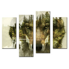 4 Pieces Canvas Paintings Wall Art Picture for Home Decor Wolf Pine Trees Forest Animal Print On Canvas with Wooden Framed(China (Mainland))