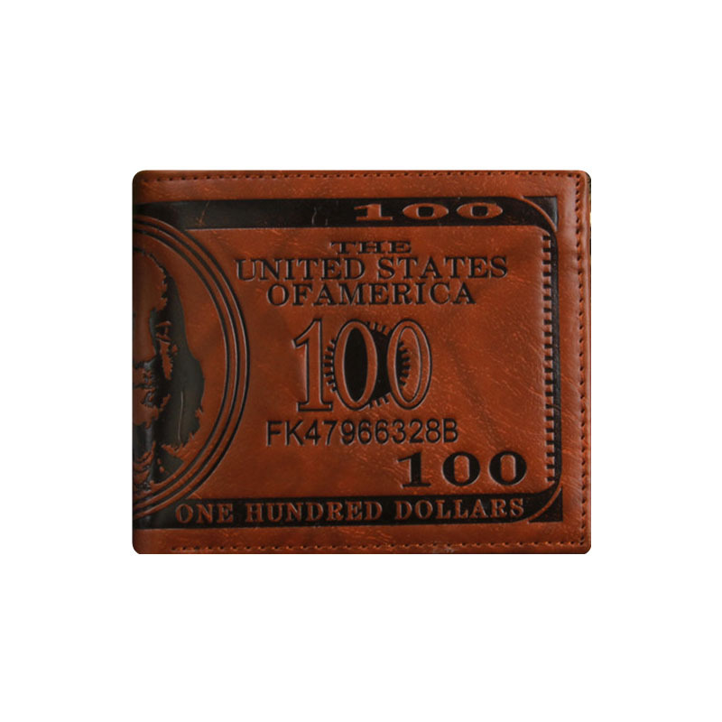 Men's Novel 100 Dollars Personalized Cheap Wallets, Three Layer Folded Short Wallet, Dollar Price Coin Card Multi-Function Purse(China (Mainland))
