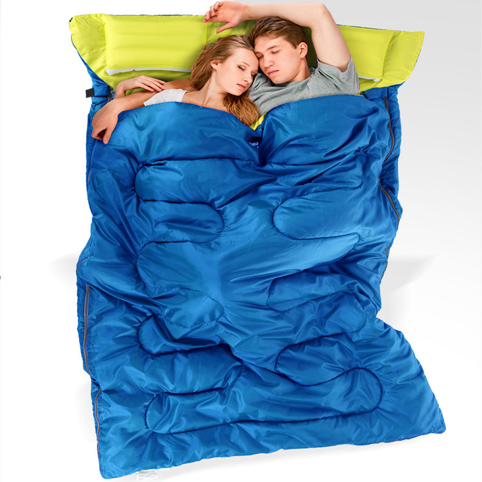 Couple double sleeping bag / outdoor camping portable sleeping bag 3 colors available