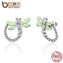 BAMOER Real 925 Sterling Silver Vivid Green Dragonfly Animal Drop Earrings For Women Fashion Anniversary Jewelry SCE018(China (Mainland))