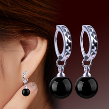 European And American Fashion Light Red & Black Natural agate Round Hoop Earring For Women Best Gift For Friend Earring Jewelry(China (Mainland))