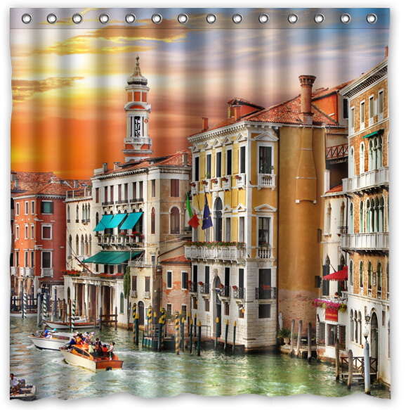 Custom Italy Houses Canal Grande Venice Cities Fans Printed Size180cmx180cm 100% Waterproof Polyester Shower Curtain(China (Mainland))
