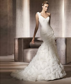 Western Stylish One Shoulder with Floral Mermaid Trumpet Wedding Gown Ruffles Bridal Dress Real Sample 2014 WD0030
