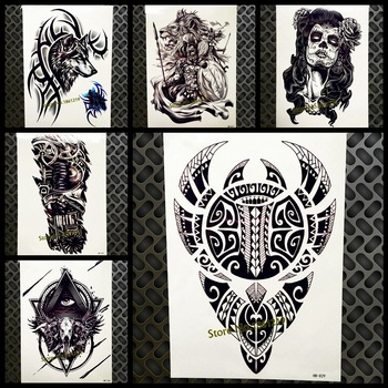 Cool Large Black Sticker Totem Design Temporary Tattoo Men Women Fake Arm Scythe Tatoo Body Art Waterproof Wing Tattoo Sticker
