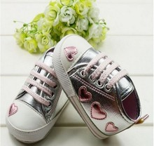 Cute pink Love Style Kid Toddler Baby Girl Silver Crib Heart Soft Shoes Walking Sneaker 0-18 M      (China (Mainland))