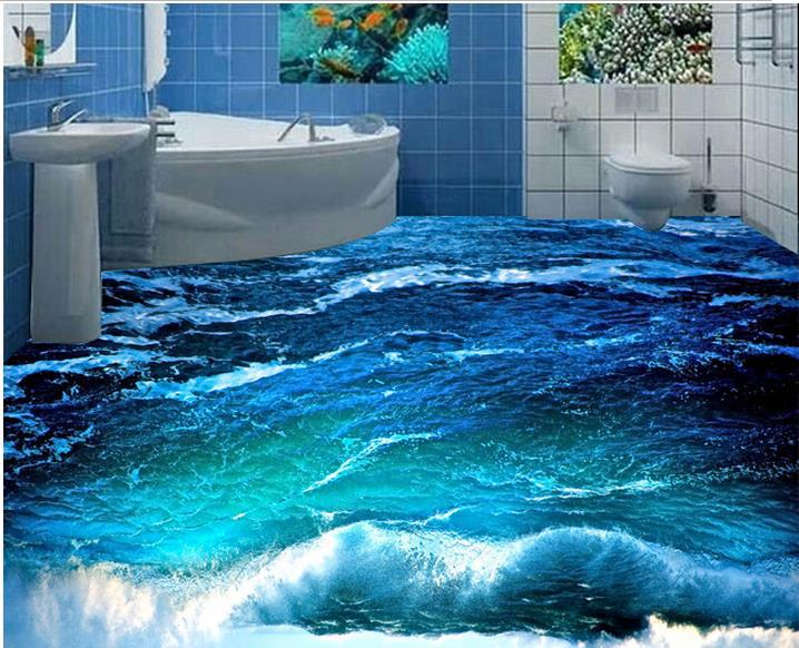 Custom photo floor wallpaper 3d stereoscopic 3d ocean for Floor 3d wallpaper