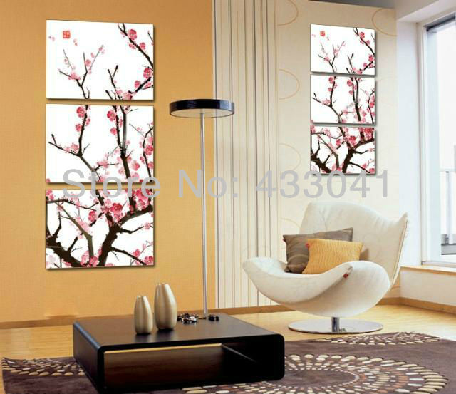 Hand Painted Modern 3 Piece Canvas Sets Red Cherry Blossom