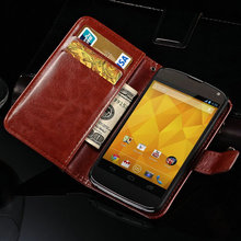 Luxury Wallet Style Stand PU Leather Case for LG Google Nexus 4 E960 Flip Cover Phone Bag Case for Nexus 4 with Card Slot(China (Mainland))