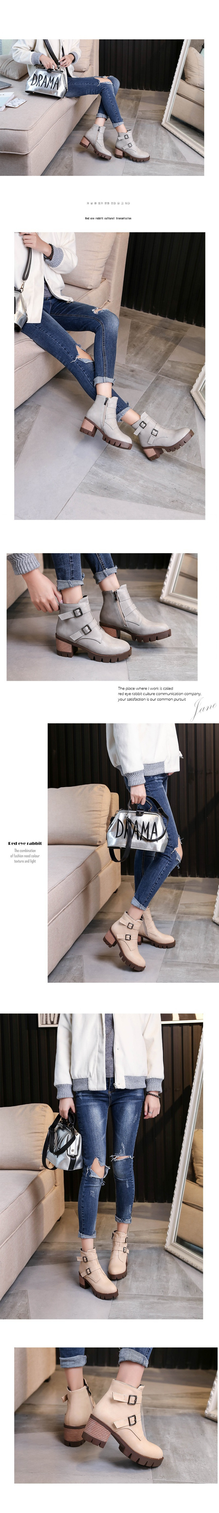 Retro Roman Breathable Shoes Belt Buckle Women's Ankle Booties On Sale Black High Heeled Boots Beige Brown Gray
