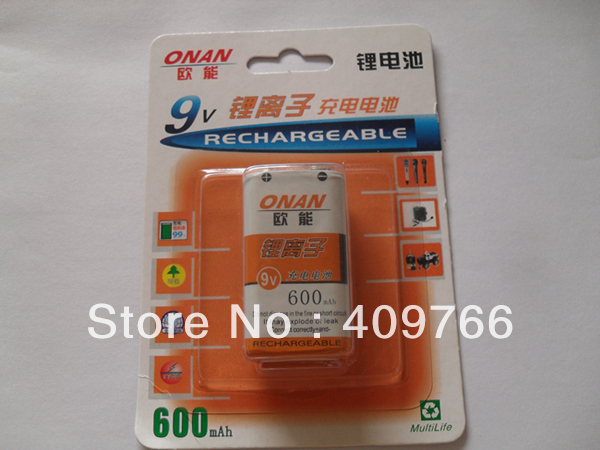 10pcs/lot New Original 9V 600mAh Li-ion Lithium microphone Rechargeable battery batteries Free Shipping(China (Mainland))