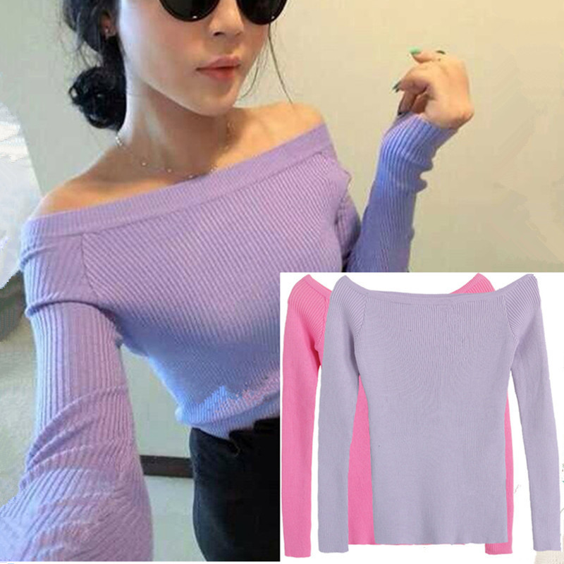 Free Shipping Autumn and Winter basic Sweater female slit neckline Strapless Sweater thickening sweater top thread slim C0320