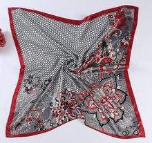 Fashion House Plaid Flower Print Satin Square Scarf Women Imitated Silk Scarves Luxury Brand Polyester Shawl Hijab - East Show store