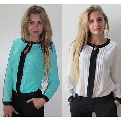 Free Shipping Women Splicing Vogue Chiffon Tassle Sexy Slim Single Breast Button Down Long Sleeve O Neck Tops Shirt White/Blue(China (Mainland))