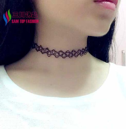 2014 Hot Tattoo Choker Necklace Fashion Black Gothic Punk Elastic designer Double-Layers Neck Collar for woman bijoux wholesale(China (Mainland))