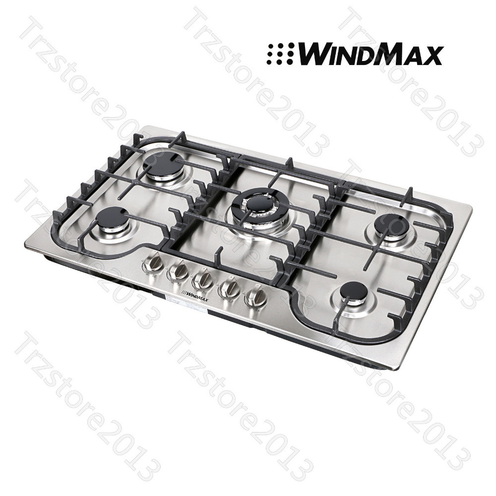 "USA Warehouse WindMax 34"" Stainless Steel 5 Burner Built-In Stoves Gas Cooktops US Seller(China (Mainland))"