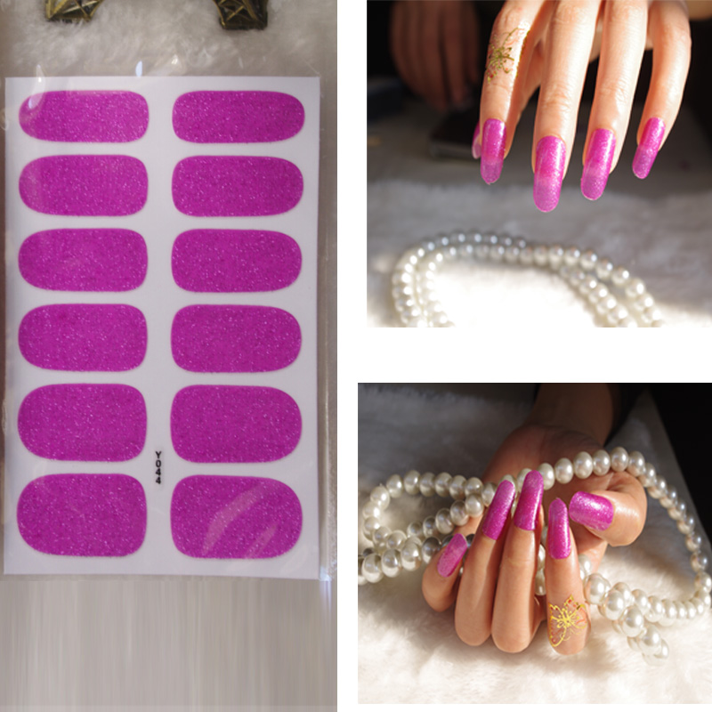 Full Nail WRAPS Art adhesive Sticker False Nails Foil decals Manicure Decor Tools Cover design grace shiny roseo(China (Mainland))