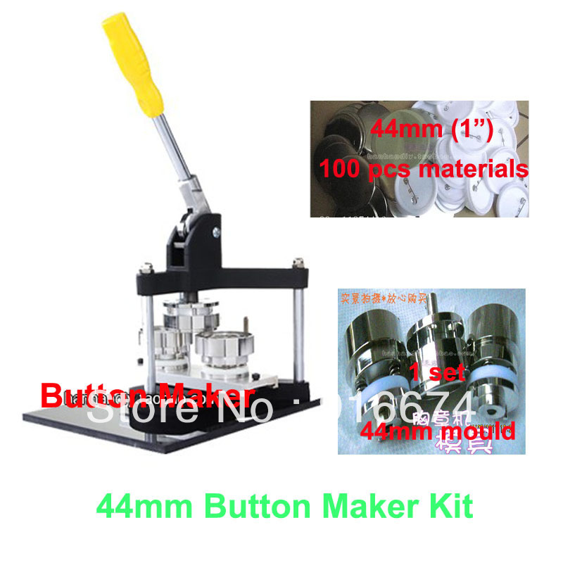 Fast Free shipping Discount Professional Button Maker Kit 44mm Badge Button Maker Machine 44mm Mould and 100 Sets Pinback Supply<br><br>Aliexpress