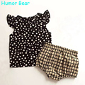 Humor Bear New Style Summer White Dots Baby Girls Clothes Set Cotton Suit Set Kids Clothing