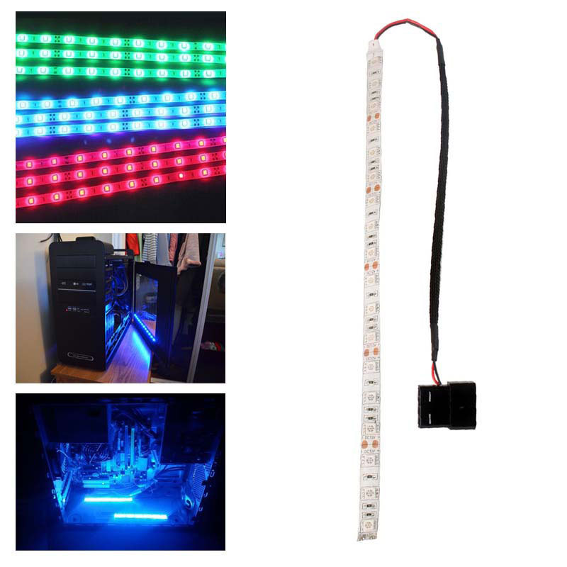 60cm 5050SMD LED PC Computer Case Strip Light Self-adhesive Red/Blue/Green #49842(China (Mainland))