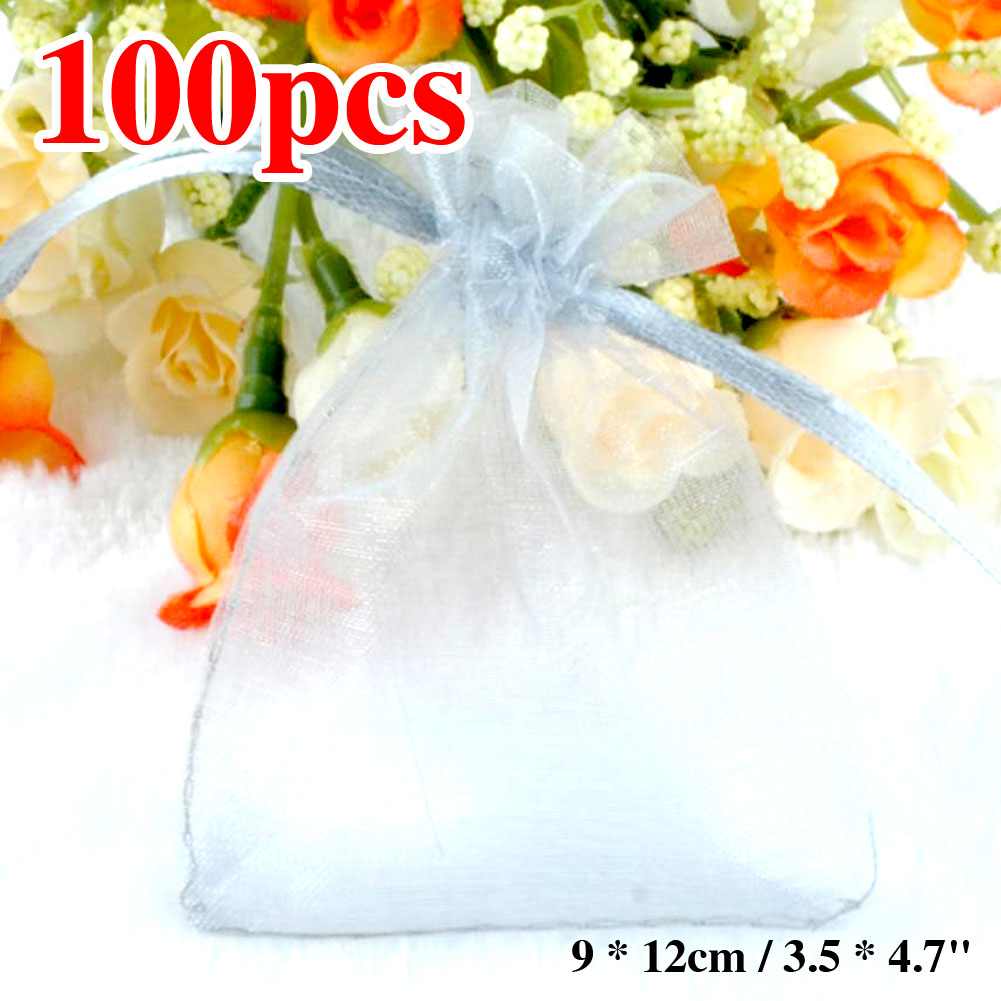 """100pcs/lot Organza Gift Bags 9 x 12cm / 3.5 x 4.7"""" Grey Sheer Organza Pouch Wedding Jewelry Favor Candy Gift Bags ES1964(China (Mainland))"""