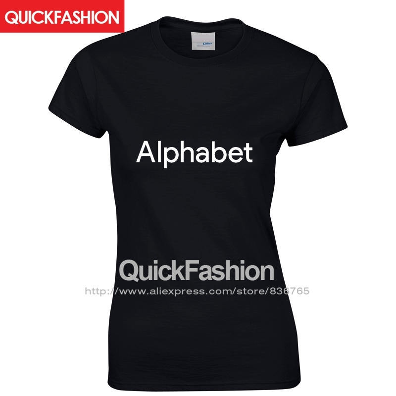 Alphabet High Quality Printed Geek New Technology Company Cotton 2016 Plus Size Rock T Shirt Tee Woman Women(China (Mainland))