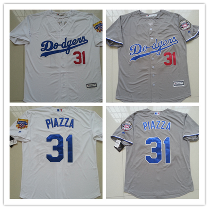 Men's stitched Cheap Los Angeles Dodgers Throwback Baseball Jerseys 1997 White Gray #31 Mike Piazza L.A.Dodgers jersey(China (Mainland))