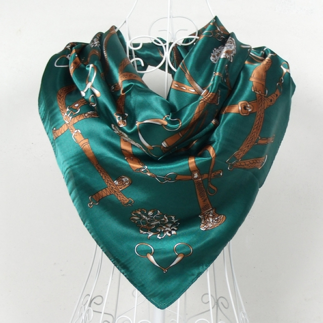 2015 New Style Dark Green Women Satin Big Square Silk Scarf Printed New Design Polyester Shawl Spring Autumn Scarf Wraps 90*90cm