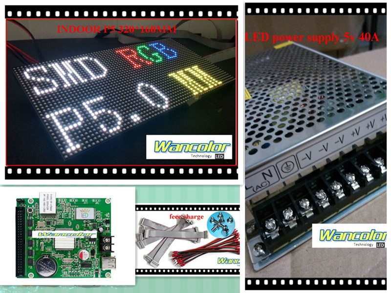 free shipping DIY LED display 1 sqaure meter 18 pcs P5 indoor Full Color Led Module (320*160mm)+controller+3 pc power supply(China (Mainland))
