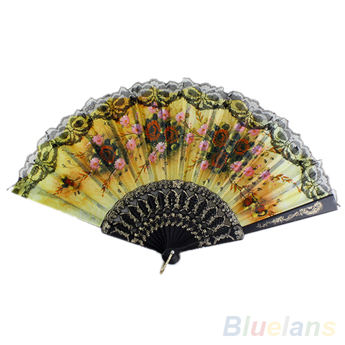 Spanish Flower Floral Fabric Lace Folding Hand Dancing Wedding Party Decor Fan 1N1G 2JGV(China (Mainland))