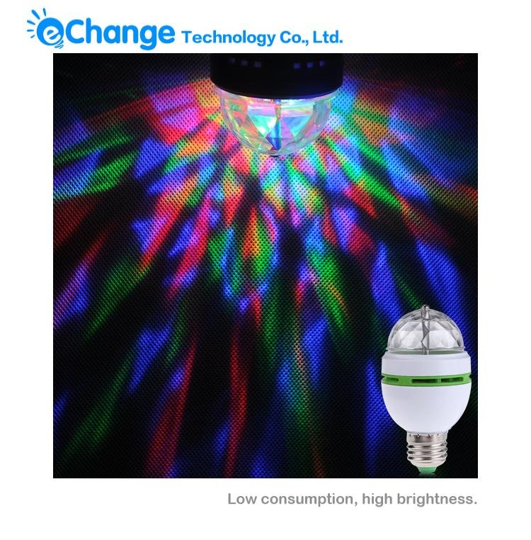 E27 3W Colorful Auto Rotating RGB LED Bulb Stage Light Party Lamp Disco EB0207(China (Mainland))