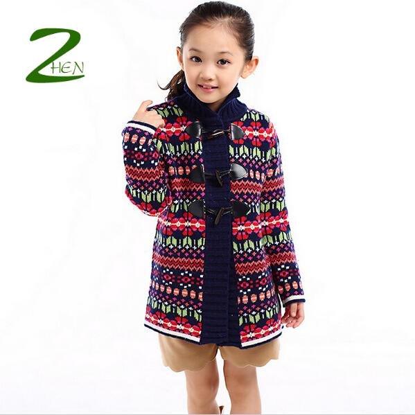 Color Bar Girls Hooded Cardigan Sweater : Babys Clothing Children Winter Plus Thick Cashmere Sweater Coat Retail 2014 New