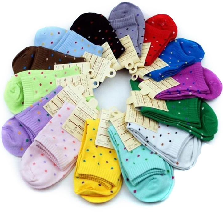 Casual Fashion Ladies sock high Quality Fresh Dot Beautiful Cute candy color Autumn and winter Cotton