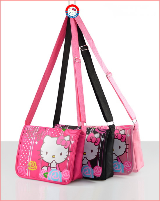 Free shipping, Wholesale casual shoulder bag 5 pcs/lot Hello kitty messenger bags Lovely cartoon school bag for children girls(China (Mainland))