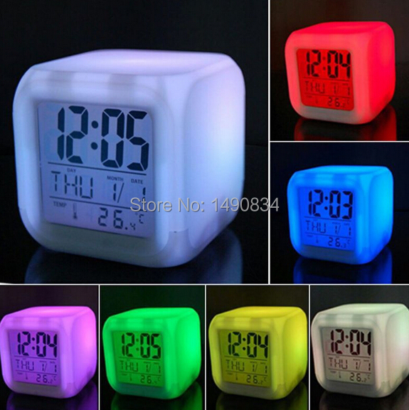 7 LED Colour Changing Digital LCD Alarm Clock Thermometer Date Time Night Light(China (Mainland))
