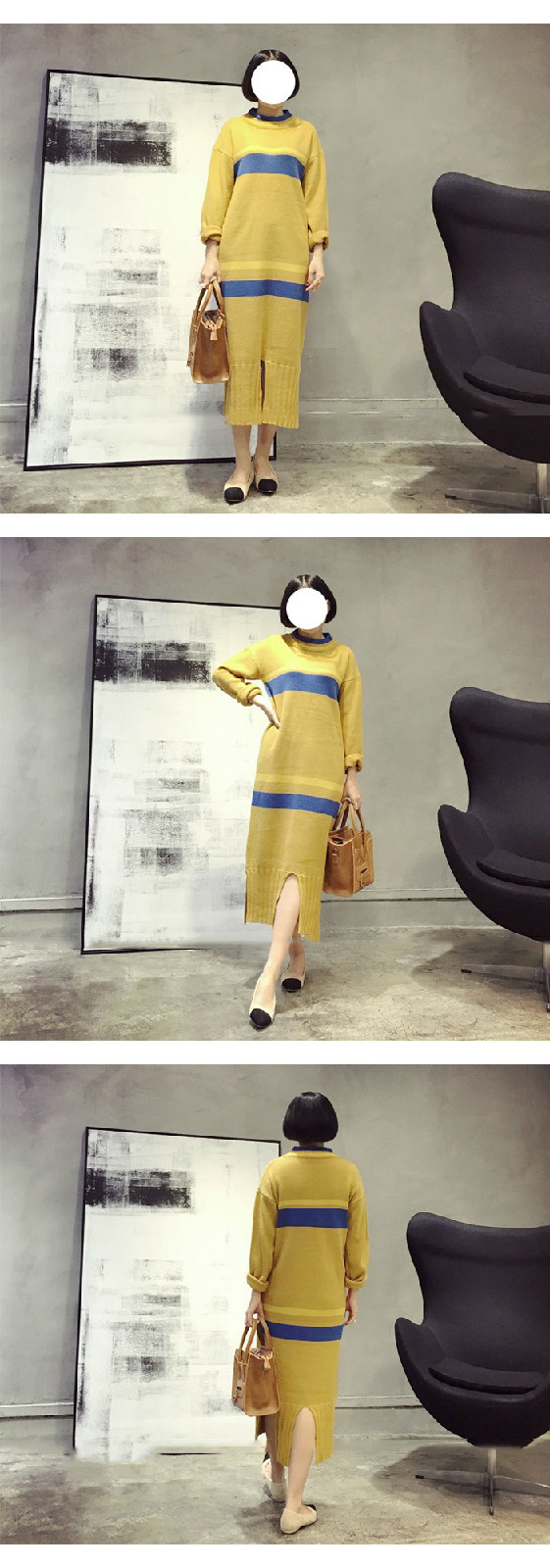 [soonyour] 2016 Autumn Fashion New Round Neck Long Sleeve Spelling Color Vent hem Long yellow Sweater Dress Woman YD31707