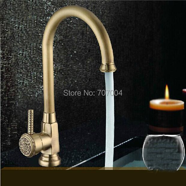 Фотография Top-grade Brass Antique Basin Sink Faucet Deck Mounted Single Handle Bathroom Hot and Cold Mixer Tap