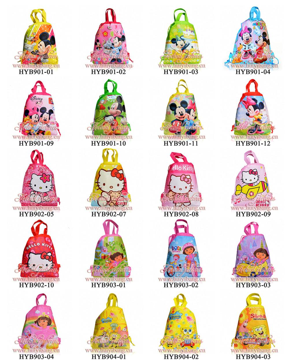 Free DHL-150Pcs Mickey ,Dora,Diego,Cars ,Princess ,Spider Man,Kitty Children Drawstring Backpack School Bags,Kids Totes,34*27cm(China (Mainland))