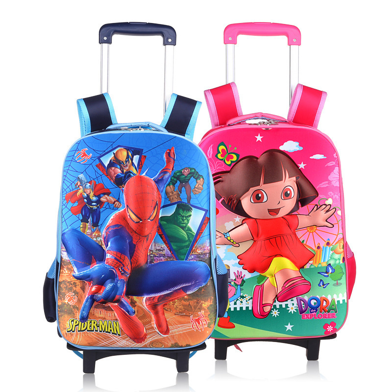 New 2015 Lovely School Rolling Trolley BagsSpider Men&Dora Bags Wheel Bag Children Backpack for Children Boys and Girls(China (Mainland))