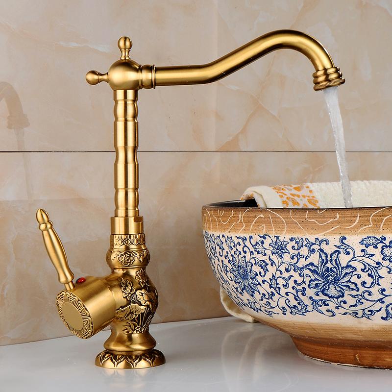 Фотография Free shipping 360 Degree swivel faucets art carve Antique bronze bathroom tap golden pool faucet Kitchen golden faucet CA-9905K
