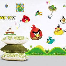 Kawaii Birds Wall Stickers for Kids Rooms Baby Home Decoration Anime Posters Cartoon Wall Decal Art Game Wall Paper Kids Nursery(China (Mainland))