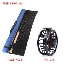 FREE SHIPPING IM 12 NANO Carbon Fly Rod 9FT 7WT AND HVC 7/8Weight Exclusive Super Light Fly Reel Fly Rod And Fly Reel Combo