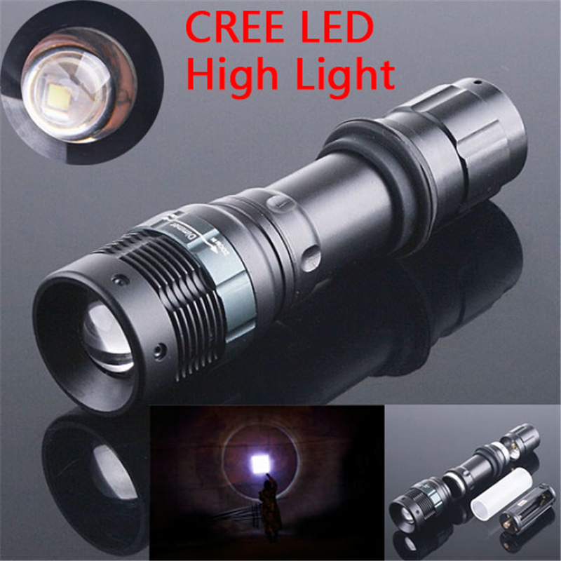 BEST CREE Q5 800LM 3 Modes LED Flashlight Daily Waterproof Flash Light Zoomable Lamps Torch Lantern Hunting,Use18650 AAA - Black scorpions store