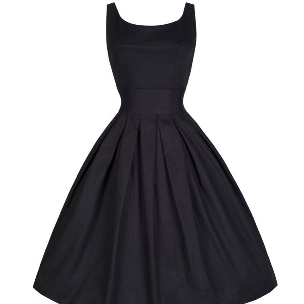 2015 Summer Women Hepburn Dresses O-neck Sleeveless Black Retro Casual Party Robe Rockabilly 50s Vintage Vestidos Plus Size 9564(China (Mainland))