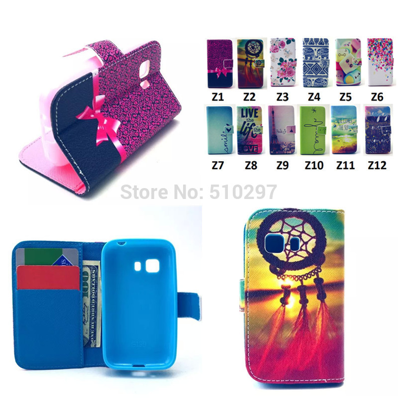 Cartoon Owls Flowers Wallet PU Leather Case Samsung Galaxy Young 2 Young2 G130 Credit Card Holder Back Stand TPU cover